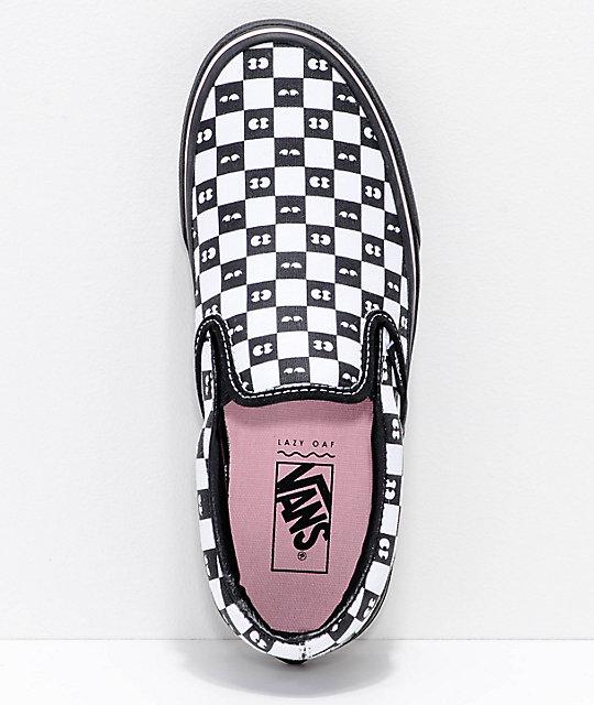 Vans x Lazy Oaf Classic Slip On Black & White Shoes