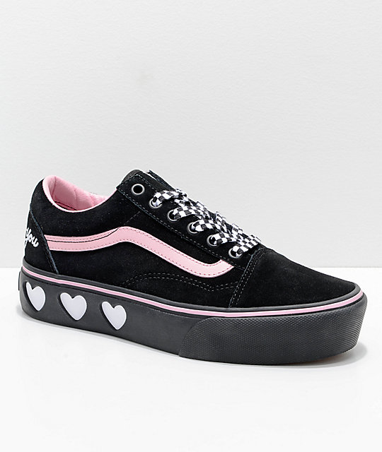 828126118f Vans x Lazy Oaf Old Skool Platform Black   Pink Shoes