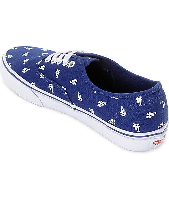 20261c15a2cf Vans x MLB Authentic Dodgers Canvas Skate Shoes