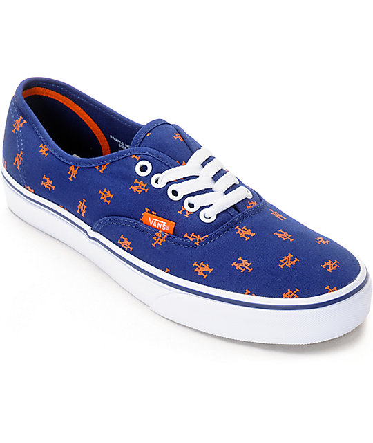 a2c93212e0 Vans x MLB Authentic Mets Canvas Skate Shoes
