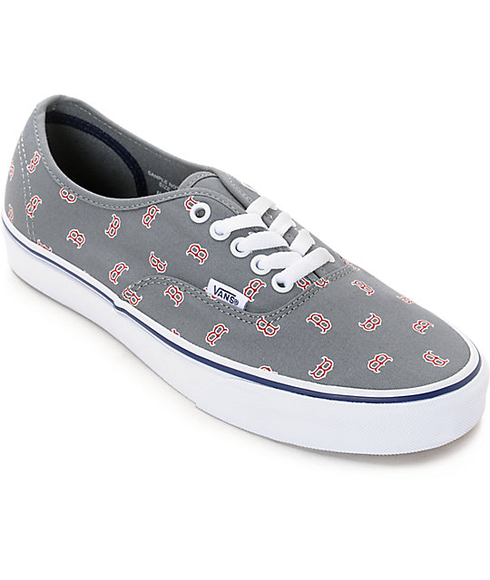Vans x MLB Authentic Red Sox Canvas Skate Shoes  a6841cb90