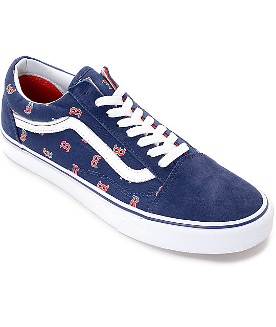 f350e73e08e8 Vans x MLB Old Skool Red Sox Skate Shoes