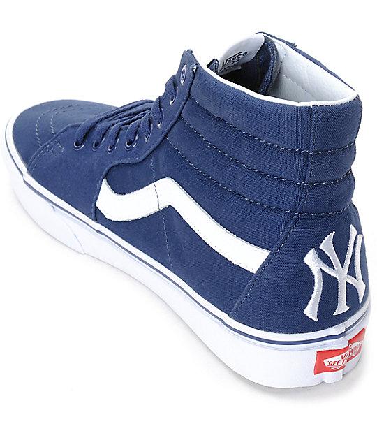 0fef2589bf ... Vans x MLB Sk8-Hi Yankees Navy Skate Shoes ...