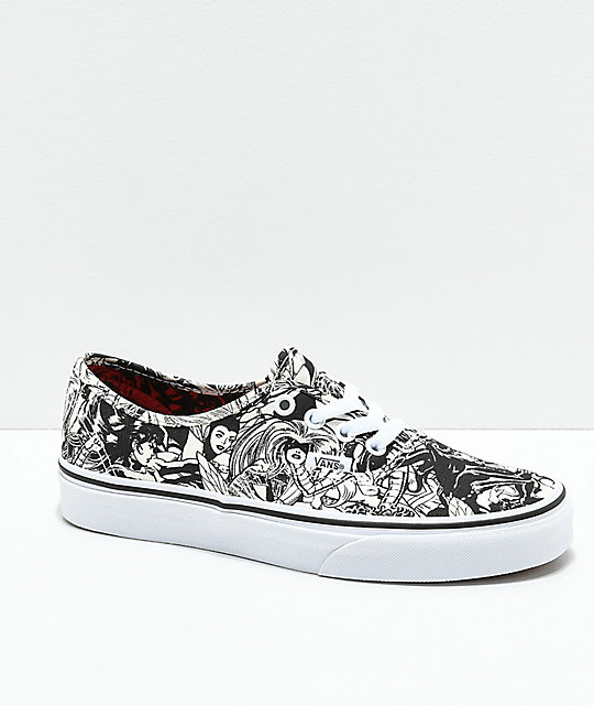 Vans x Marvel Authentic Marvel Women Black   White Skate Shoes  3609b7af6