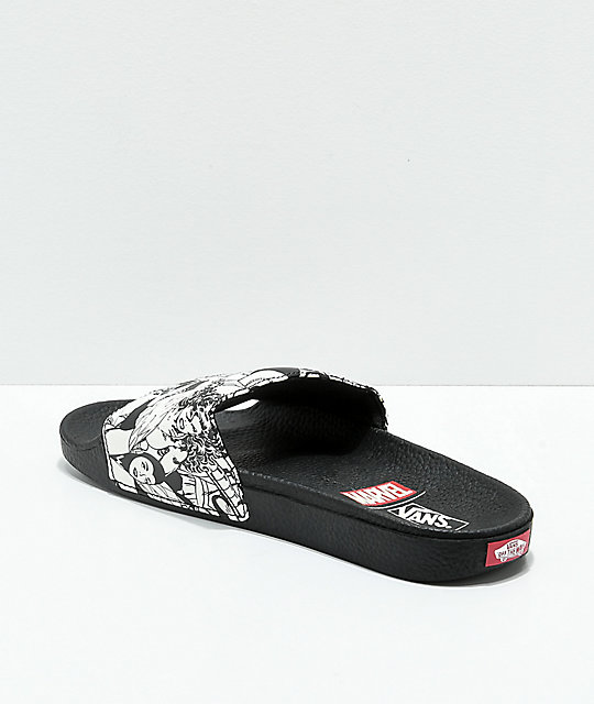 ... Vans x Marvel Black   White Slide Sandals ... 6f98d2dc603