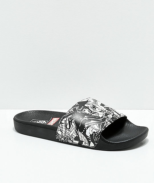 Vans x Marvel Black   White Slide Sandals  74f11b5e697