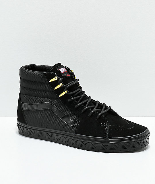 21fad0d2e5 Vans x Marvel Sk8-Hi Black Panther Black   Gold Skate Shoes