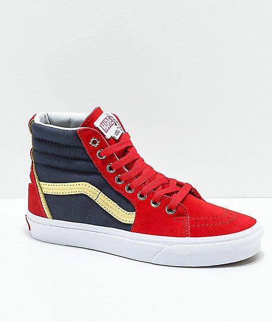 Vans x Marvel Sk8-Hi Captain Marvel zapatos de skate en rojo c0b0c02b519