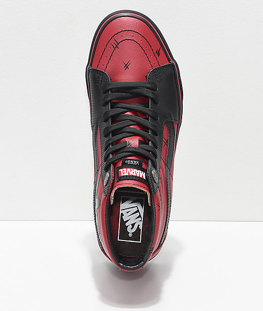 5bbce8d12f8 ... Vans x Marvel Sk8-Hi Deadpool Red   Black Shoes ...