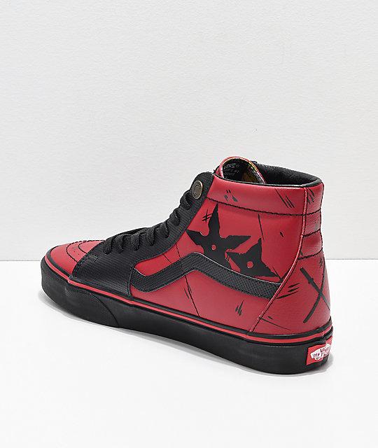 6cfdeb1f11bc92 ... Vans x Marvel Sk8-Hi Deadpool Red   Black Shoes ...