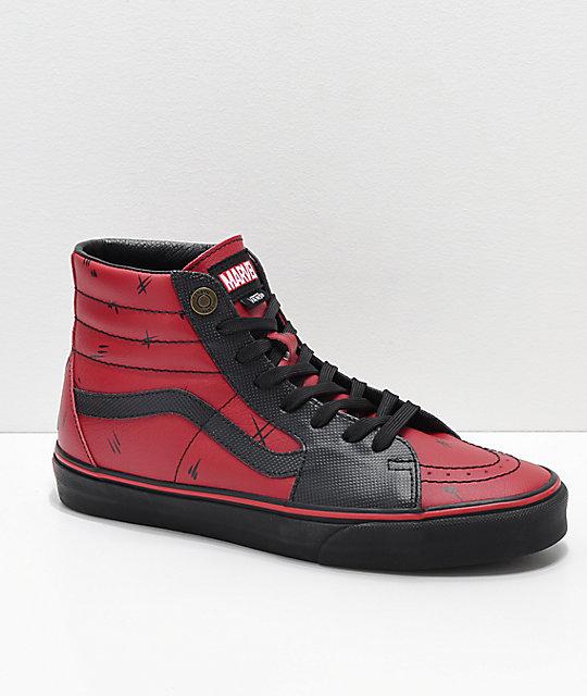 vans x marvel sk8hi deadpool red amp black shoes zumiez