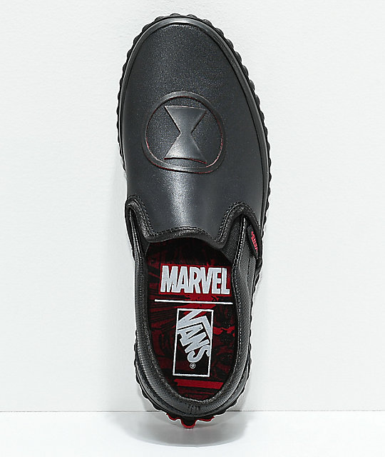 Vans x Marvel Slip-On Black Widow Skate Shoes