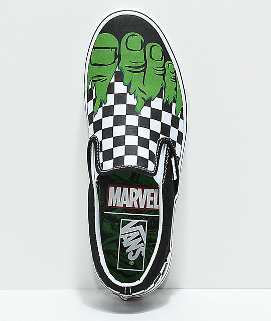 Vans x Marvel Slip On Hulk Checkerboard Shoes