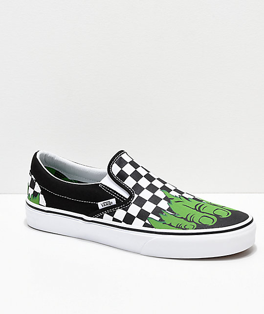 Vans x Marvel Slip On Hulk Checkerboard Shoes  627680249