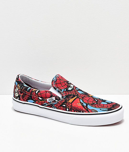 d0ef76afb1 Vans x Marvel Slip On Spiderman Red   Blue Shoes