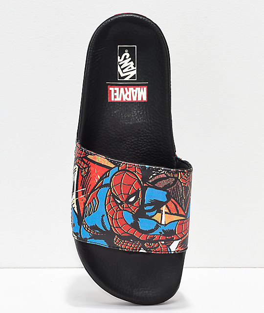 2cbf2d76a9 ... Vans x Marvel Spiderman Black Slide Sandals ...