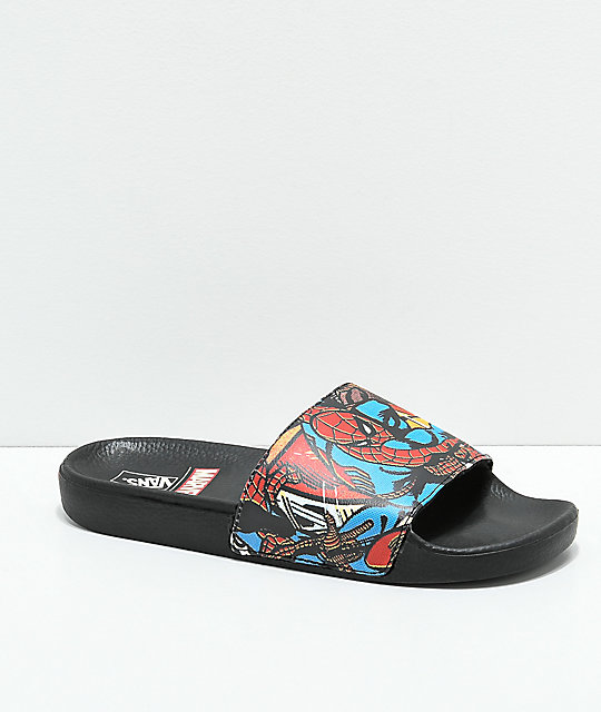e00d0e6c93a4 Vans x Marvel Spiderman Black Slide Sandals
