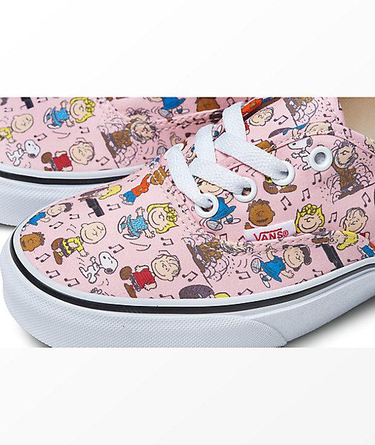 7e5fd818e8 ... Vans x Peanuts Authentic Dance Pink   White Skate Shoes ...
