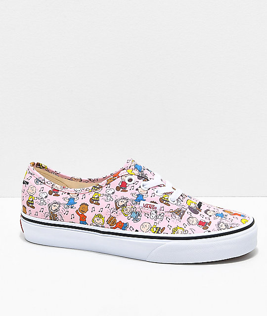 Vans x Peanuts Authentic Dance Pink   White Skate Shoes  83bd9383e