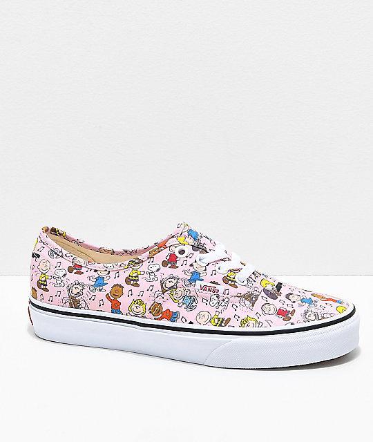 Vans x Peanuts Authentic Dance Pink & White Skate Shoes ...