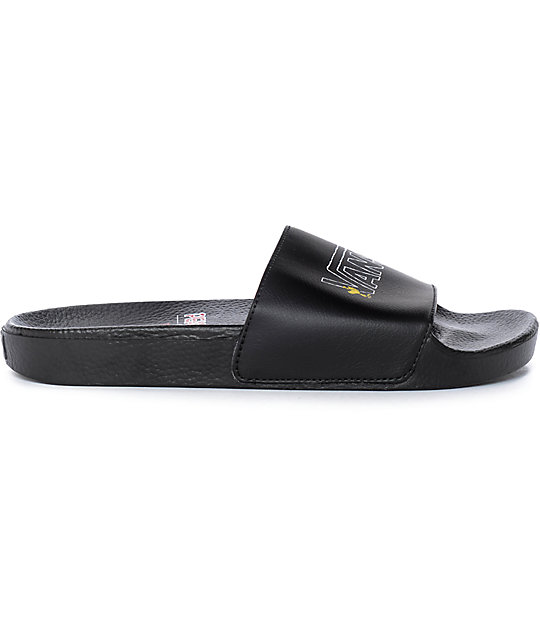 0a412d61f8 ... Vans x Peanuts Black Slide Sandals