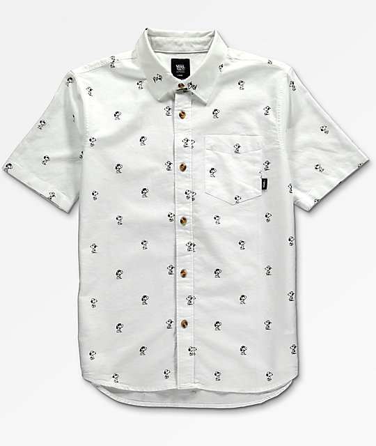 cd83ff18b Vans x Peanuts Boys House White Woven Button Up Shirt | Zumiez