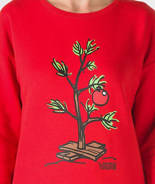 722cccde03 ... Vans x Peanuts Christmas Tree Red Crew Neck Sweatshirt