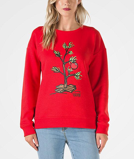b8f67d02f9 Vans x Peanuts Christmas Tree Red Crew Neck Sweatshirt