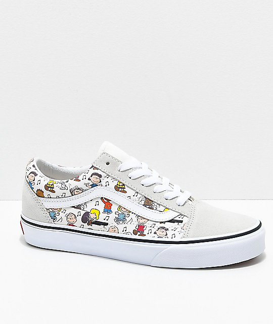 Vans x Peanuts Old Skool Multi-Colored   White Skate Shoes  70847a4e8