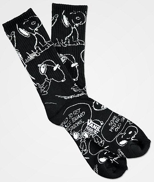 6b5ff33e22e540 Vans x Peanuts Snoopy Black Crew Socks