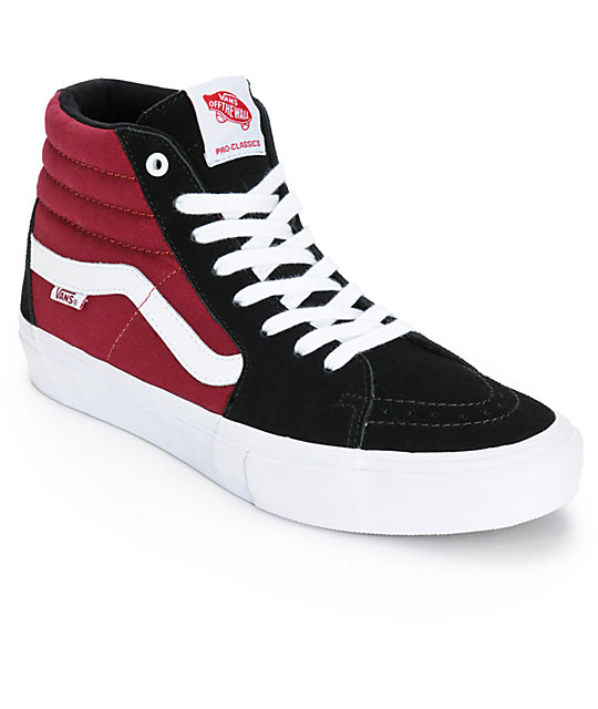 vans sk8 hi black and red