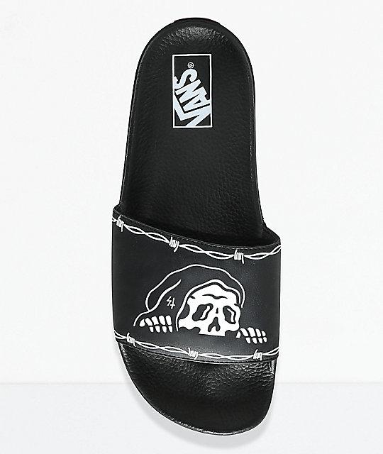 Vans x Sketchy Tank Black & White Slide Sandals | Zumiez
