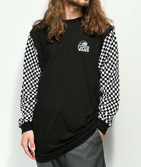 Vans x Sketchy Tank Checkered Black & White Long Sleeve T-Shirt