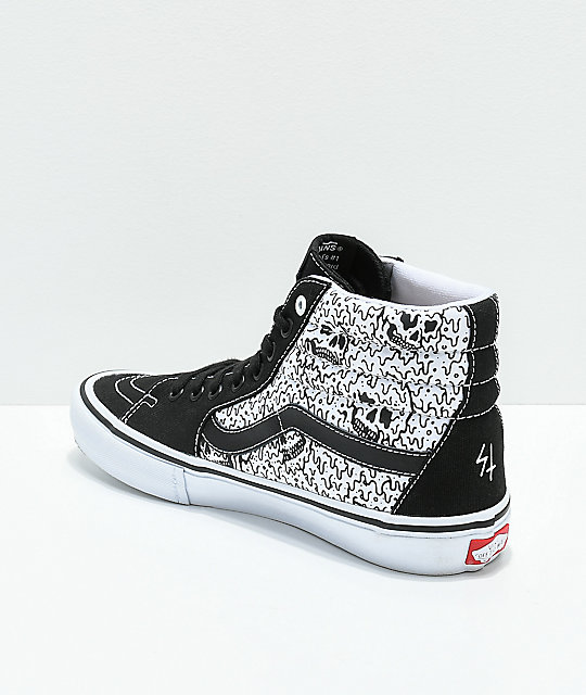 Vans x Sketchy Tank Sk8-Hi Pro Reflective Black & White Skate Shoes