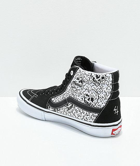 8bfa708581 ... Vans x Sketchy Tank Sk8-Hi Pro Reflective Black   White Skate Shoes ...