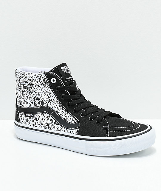 c3b2115aa9 Vans x Sketchy Tank Sk8-Hi Pro Reflective Black   White Skate Shoes ...