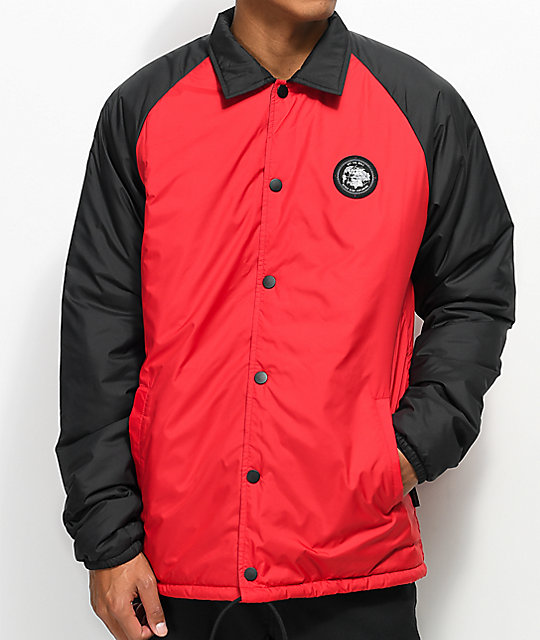 Vans X The North Face Torrey Mte Red Black Coaches Jacket Zumiez