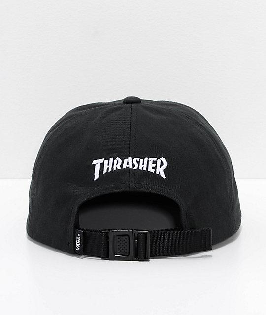 ... Vans x Thrasher Jockey 6 Panel Black Strapback Hat f7c7e300db8