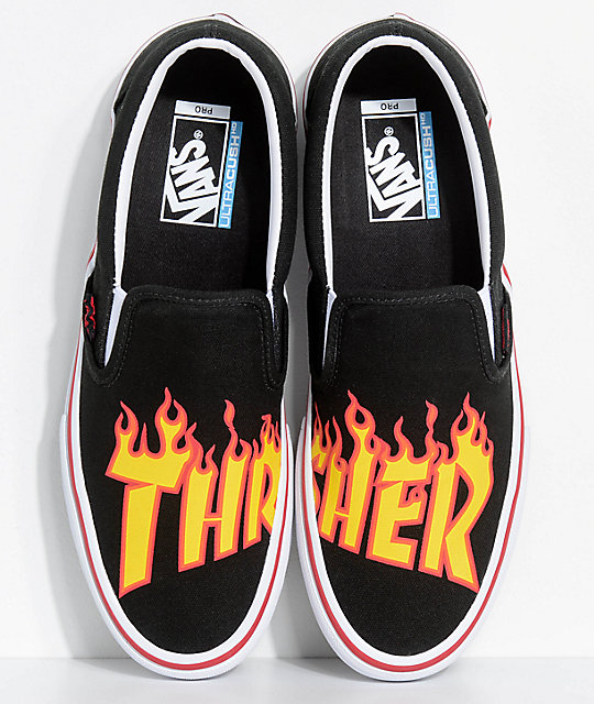 Vans x Thrasher Slip-On Pro Black Skate Shoes