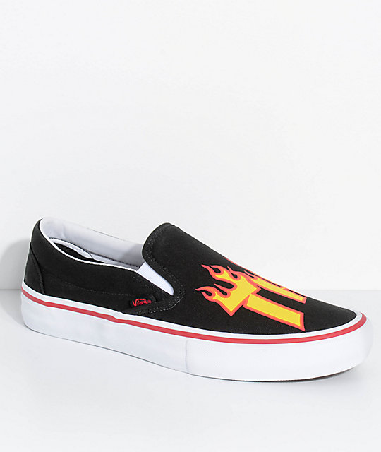 2209340c9b2 Vans x Thrasher Slip-On Pro Black Skate Shoes