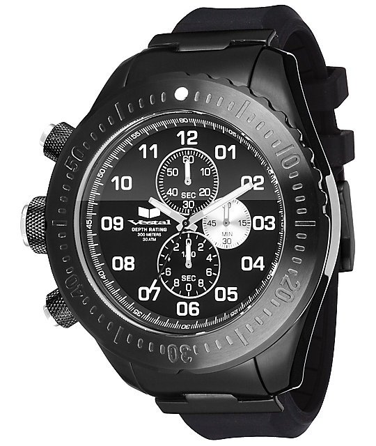 Vestal ZR-4 Diver All Black Chronograph Watch
