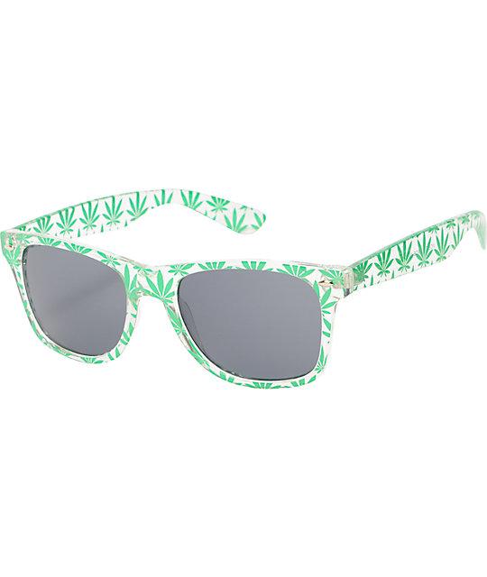 2dd3035f2efd3 Vice Clear   Green Weed Print Sunglasses