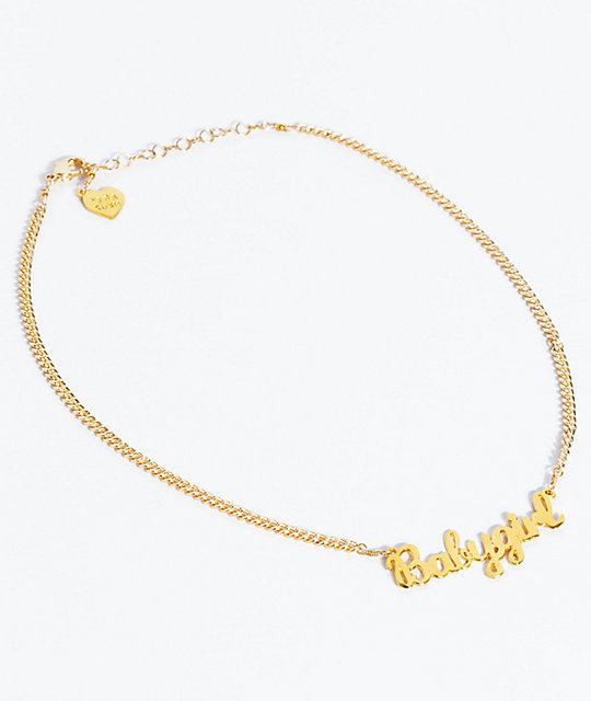 Excellent VidaKush Babygirl Nameplate Gold Choker Necklace | Zumiez KE35