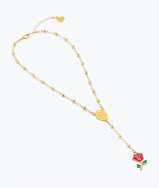 VidaKush Holy Rose Rosary Gold Choker Necklace