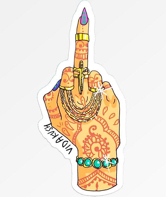 Vidakush middle finger sticker