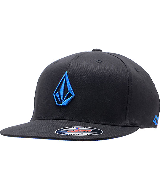 Volcom 2-Stone Black & Blue Fitted Hat