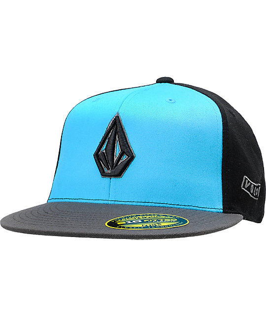 Volcom 2Stone 210 Fitted Black & Cyan Hat