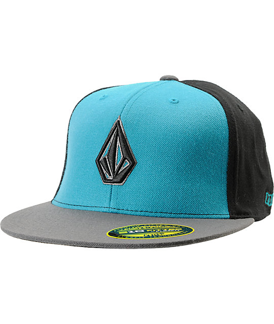 Volcom 2Stone Black, Grey & Teal 210 Fitted Hat