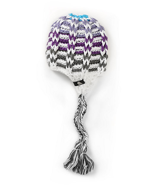 Volcom Ace White & Purple Stripe Beanie