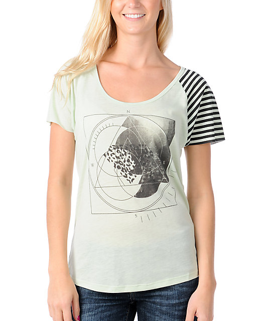 Volcom Act Naturally Green Scoop Neck T-Shirt